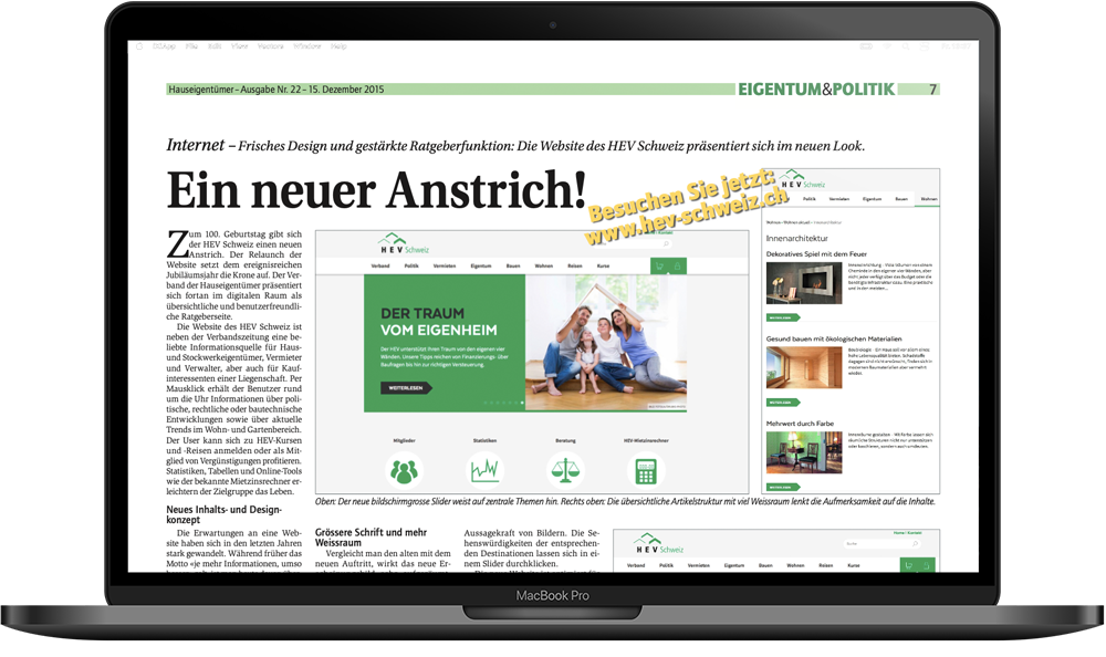 HEV Schweiz Webprojekt